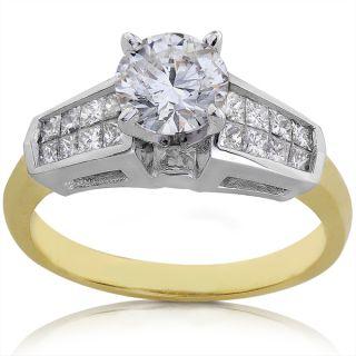Platium and 18k Gold 1 1/2ct TDW Certified Diamond Engagement Ring (F