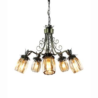 Crystal shade 5 light Antique brass finish Chandelier Today $69.99 1