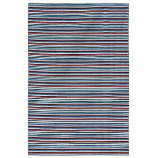 Hand woven Flat weave Arrah 103 Blue Wool Rug (8 x 10)
