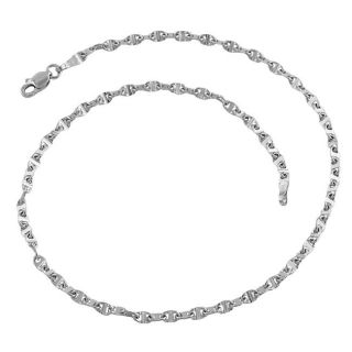 10k White Gold Polished Mariner Link Anklet