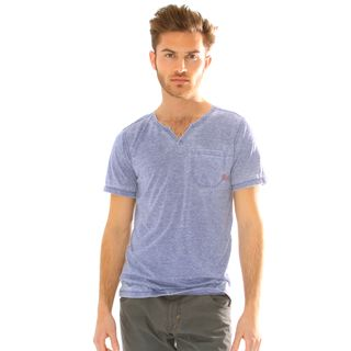 191 Unlimited Mens Slim Fit Burnout Moroccan Neck Tee