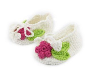 Baby Girl Boy Flower Sock Crochet Solf Knit Shoes White Size S Shoes