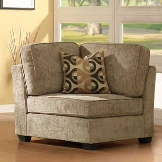 Barnsley Brown Beige Corner Chair with Pillow