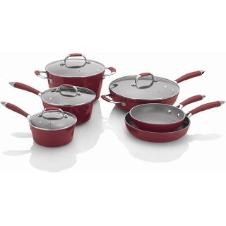 Michelle Bs 10 piece Red Forged Aluminum Cookware Set