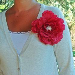 CarolineAlexander Red Ruffled Peony Flower Belt or Brooch