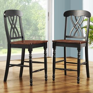 ETHAN HOME Mackenzie 24 Inch Black Counter Height Stool (Set of 2