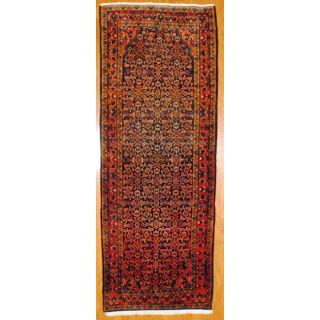 Persian Hand knotted Navy/ Red Hamadan Wool Rug (4 x 107