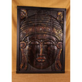 Carved Antique Finish Buddha Panel (India) Today $194.99