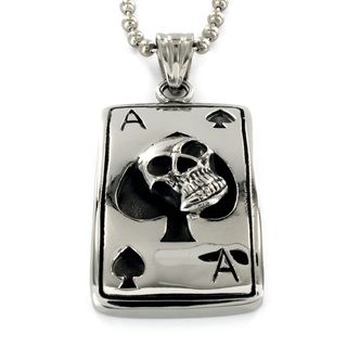 High polish Stainless Steel Skull and Ace of Spades Pendant Necklace