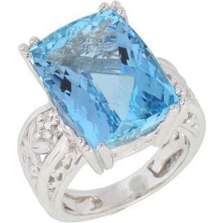 Santa Maria 14k Gold Aquamarine and 1/10ct TDW Diamond Ring