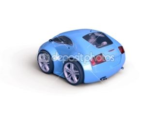 Baby Coupe Rear View (Little Blue Tiny Isolated Concept Car)  Foto