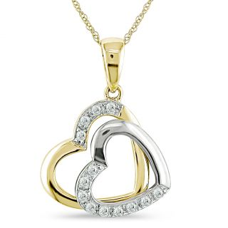 Miadora 10k Two tone Gold Diamond Accent Double Heart Necklace Today
