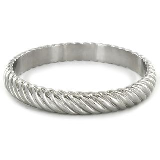 West Coast Jewelry Stainless Steel Twisted Bangle Bracelet