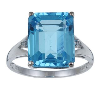 Viducci 10k White Gold Blue Topaz and 1/10ct TDW Diamond Ring (G H,I1