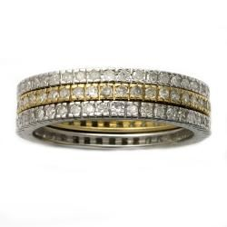 Beverly Hills Charm 10k Two tone Gold 1ct TDW Diamond Stackable