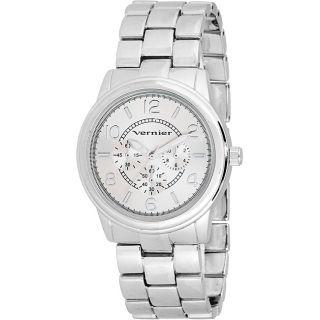 Vernier Womens V201 Round Silver Tone Crono Look Bracelet Watch