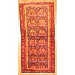 Persian Hand knotted Hamadan Coral/ Gold Wool Rug (4 x 86