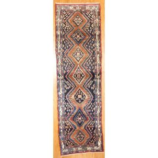 Persian Hand knotted Hamadan Navy/ Ivory Wool Rug (35 x 116