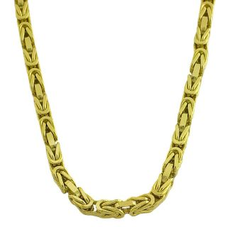 Fremada 14k Yellow Gold Mens Solid 18 inch Byzantine Link Necklace