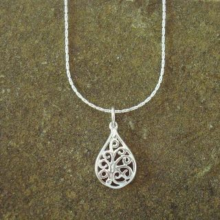 Jewelry by Dawn Sterling Silver Boxed Chain Necklace With Filigree