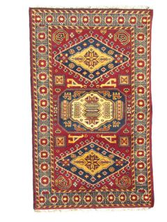 Indo Kazak Hand knotted Red/Gray Rug (3 x 5)