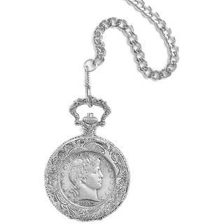 American Coin Treasures Silver Barber Half Dollar Pocket Watch