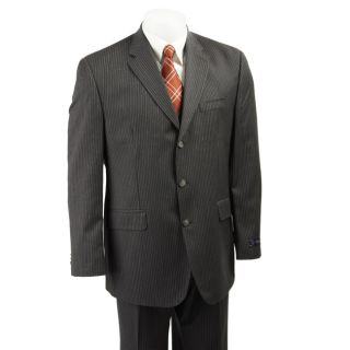 Sean John Mens Dark Grey Multistripe Wool Suit