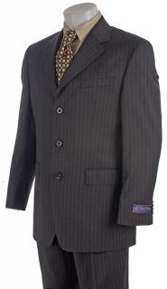 Sean John Mens 3 button Black Stripe Wool Suit
