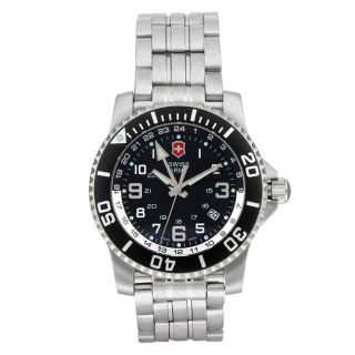Swiss Army Mens Maverick II 2nd Time Zone Stainless Steel Watch