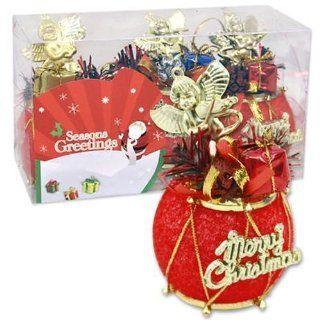 Plastic Drum Ornament Merry Christmas 3 Pieces (48 Pack