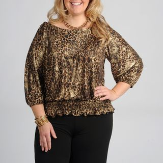 Onyx Nite Womens Plus Size Leopard Peasant Top