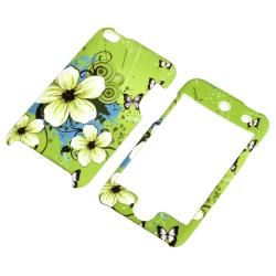 Green Flower Snap on Rubber Case for Apple iPod Touch 4th Generation