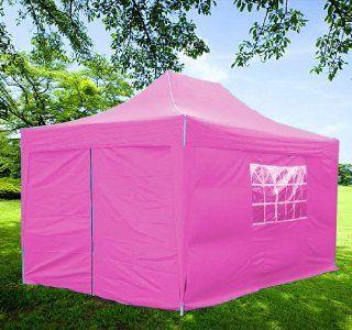 10x15 Pop up 4 Wall Canopy Party Tent Gazebo Set Ez Pink