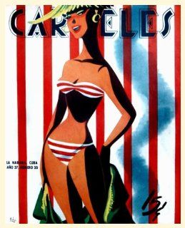 pinup posterSexy girl.Stripe BikiniFashion. 173