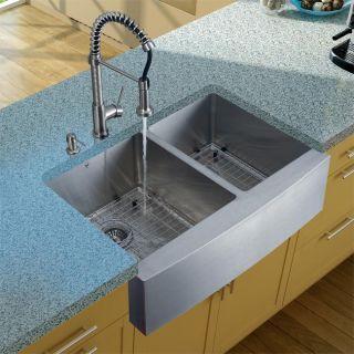 Vigo Farmhouse Stainless Steel Kitchen Sink/ Faucet/ Dispenser/ Two