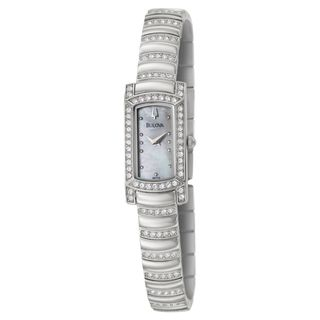 Bulova Womens Crystal Stainless Steel/ Mother of Pearl Watch