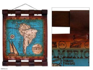 Leather 21st Century South America Blue Map (Brazil)
