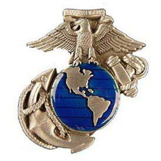 USMC Eagle Globe & Anchor Belt Buckle Enamel Blue: Sports