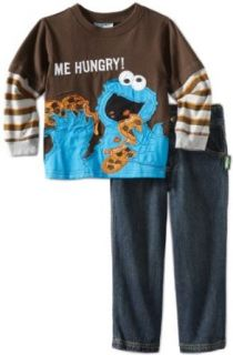Nannette Boys 2 7 Cookie Monster Two Piece Pant Set, Brown