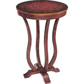 Hand painted Brown Abbey Round Wood End Table