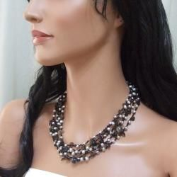 Grey Pearl, Onyx and Quartz Multi strand Necklace (4 7 mm) (Thailand