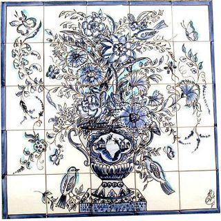 Mosaic Cobalt Blue Birds 25 tile Mural