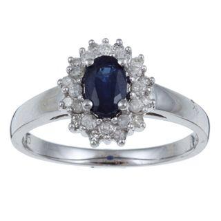 10k White Gold Blue Sapphire and 1/4ct TDW Diamond Ring (G H,I1 I2