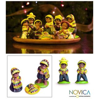 Set of 13 Ceramic San Juan Nativity Nativity Scene (Guatemala
