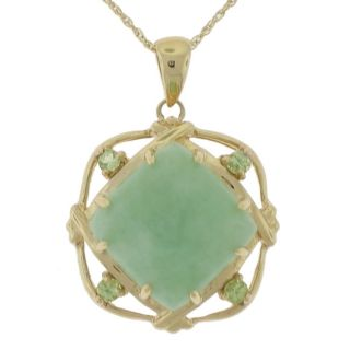 14k Yellow Gold Green Jadeite and Peridot Necklace