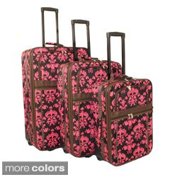 World Traveler Damask Expandable 3 piece Upright Luggage Set Today $