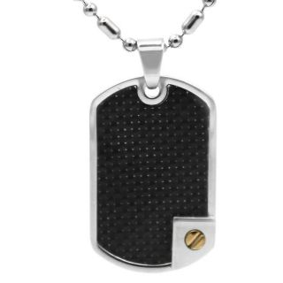 Mens Stainless Steel Black Carbon Fiber Necklace