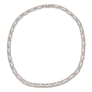 La Preciosa Stainless Steel Ceramic Half Circle Necklace