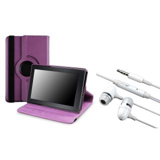 Purple Leather Swivel Case/ Headset for  Kindle Fire