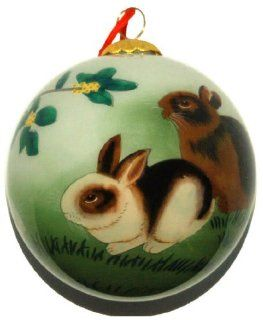 Hand Painted Glass Ornament, Rabbits CO 177